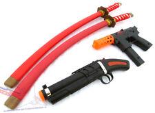 Toy Guns Ninja Set! KG-9 Cap Gun, 'Sawed-Off' Toy Shotgun & 2x Red Ninja Katanas