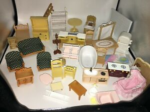 Large lot Sylvanian Epoch Calico Critters Dollhouse Furniture bathroom kitchen