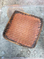Vtg Mid Century/ Bohemian Large Wicker Rattan Bamboo Square Basket / Tray