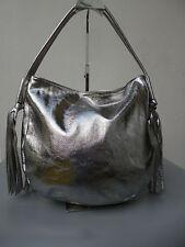 Handtasche Beutel Schultertasche Tasche Hobo-Bag ITALY Leder silber metallic NEU