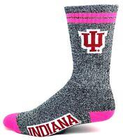 NCAA Indiana Hoosiers Gray Marbled Pink Two Stripe Crew Socks