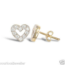 9ct Yellow Gold CZ Open Heart Stud Earrings Kids Children Adults 1.4g *BRAND NEW