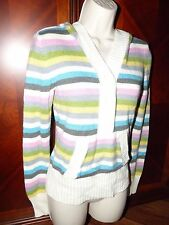 Aeropostale Striped Acrylic Sweater Ladies Size Medium Partial Button Hooded