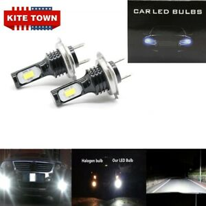 2PC NEW H7 3030 LED High Low Beam Headlights Lamp 6000K SUPER WHITE 55W 8000LM
