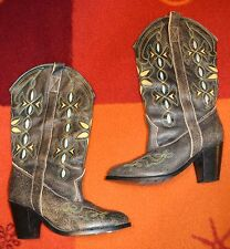 MISS ROSE EMBROIDERED COWBOY BOOTS, ROCK CHICK, ROCK'N'ROLL, ROCKABILLY, COUNTRY