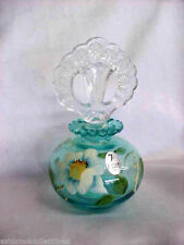 Fenton Art Glass Hand Painted Copper Blue Perfume Bottle With Stopper 5309me