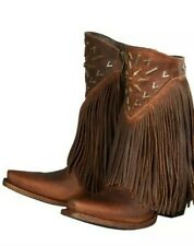 WOMEN'S LANE WESTERN BOOTS/  FRINGE-IT / BROWN / METAL ACCENTS /SIZE 7