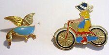lot 2 broches vintage émail couleur femme à vélo canard  bijou couleur or 99