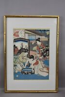 Japanese Woodblock Print Woman Bathing Courtesans Tale of Genji Utagawa Kunisada