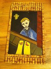 Vintage Boy Looking Out window Cross Religious Birds  Wine cork Frame painting