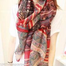 VTG Women Long Voile Tribal Aztec Scarf Shawl Muslim Hijab Bohemia Hmong Scarves