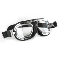 Halcyon Compact Motorcycle Goggles for Open-faced Helmets - Black Leather