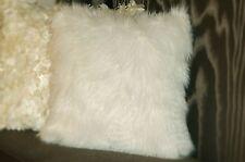 Bright White Faux Fur Cushion Pillow Zipper 18x18 Sofa Bed Couch Chair 2 Pieces