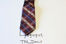 Mens Rooster Brown Tan Navy Blue Gold White Black Plaid Checked Silk Tie Necktie