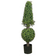 "38"" Artificial Boxwood Cone Ball Topiary UV Tree Potted 3 4 Outdoor Rated Porch"