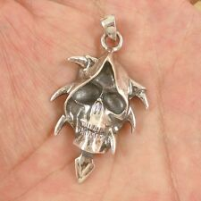 Nice Handmade COOL Shaman Skull 925 Sterling Silver Pendant CY03