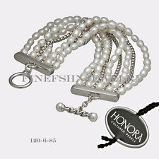 Authentic Honora Silver Freshwater Cultured Pearl Toggle Lock Bracelet 120685