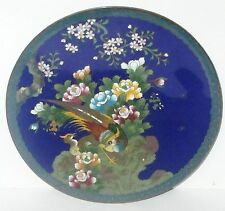 "INABA CLOISONNE BLUE ENAMEL FLORAL BIRD & BUTTERFLY 7""1/4 PLATE SIGNED"
