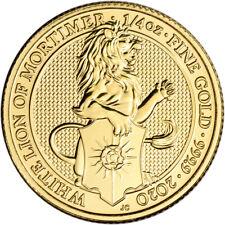 2020 Great Britain Gold Queen's Beasts White Lion £25 - 1/4 oz - BU