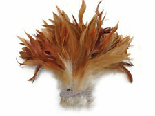 1 Yard - Natural Red Strung Schlappen Rooster Wholesale Feathers (Bulk)
