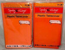 "2 HALLOWEEN plastic table covers - orange - 54"" X 108"" rectangle - NWT"