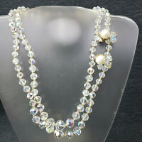 Vintage Faceted Crystal Aurora Borealis Bead Long Double Necklace Clip Earrings