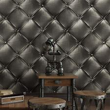 Luxury Vintage Retro 3D wallpaper Faux Leather Bag Lattice Pattern Wall Decor