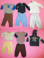 Baby Boy Lot 11 Pc Outfits Shirt Bottoms Pants Top Long Sleeve Jacket 6-9 Mo EUC