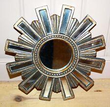 Glace / miroir soleil avec 12 barrettes en miroir Diam 24 cm patine argentée