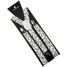 Bretelles blanches avec des notes de musique noires 2,5cm adulte - réglable