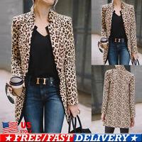 Women Leopard Print Slim Blazer Suit Coat Jacket Long Sleeve Cardigan Outwear US