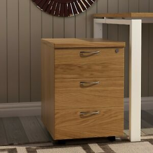 RZ 3 Drawer Mobile Office Pedestal, Desk Drawers, Oak, PRE BUILT