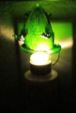 LED Nightlight- FROG -Crafted Glass Art- green-  backward facing