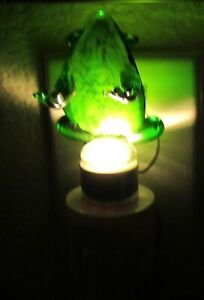 LED Nightlight- FROG -Crafted Glass Art- green-  backward facing