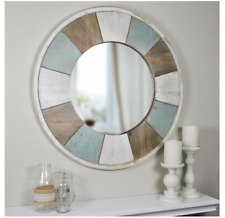 New ListingRustic Round Wood Wall Mirror Beach Home Distressed Bath Vanity Accent Hall