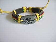 1 X Leather Cannabis Ganja Wristband Bracelet Rasta Marijuana Leaf Weed Hippy