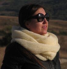 ANGORA Hand Knitted Scarf CREAM IVORY Fuzzy Infinity Handknit Round Shawl Unisex