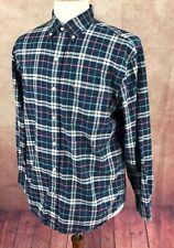 IZOD Saltwater Relaxed Classics Button Down Long Sleeve Blue Plaid Shirt Men's M