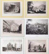 6 Stahlstiche um 1830. Italien Italia Pavia Comer See Dom Mailand Siena Pisa