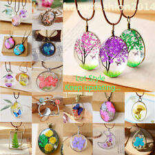 Natural Dried Flower Glass Wishing Bottle Sweater Chain Pendant Necklace Gift