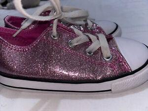 Girls Converse Size 9 Glitter Pink