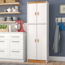"72"" Kitchen Pantry Food Cabinet Cupboard Storage Rack Organizer 4 Doors White"