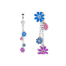 Mulitcolor Butterfly CZ Gem Belly Ring Navel Naval Teardrop Dangle Clear