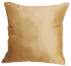 Ja126a 2 Pcs Light Gold Poly Taffeta Plain Cushion Cover/Pillow Case*Custom Size