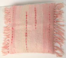 Mohair Cushion Cover Pink Handwoven Textured 15x14 Angora Fringed