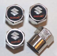 Suzuki Black Tire Valve Stem Caps Cover Wheel Aluminum Set of 4