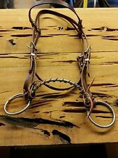 Sidepull Stainless Steel Noseband wrapped in Copper Wire with Russett Headstall