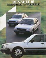 Renault 18 Lim. Variable Prospekt 1983 brochure Auto PKW Frankreich Autoprospekt