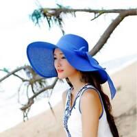 Women Girls Floppy Summer Sun Hat Straw Hat Large Wide Brim Beach Travel Hat TOP