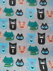 PUSSYCAT, CATS,FELINE,100% cotton canvas, med. weight, 1.5m wide sold/PER METRE/